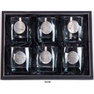 55158.f Set de 6 verres 30cl Whisky animaux chasse¤